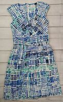 EUC Calvin Klein Womens Dress Blue Green White Sleeveless Vneck Pockets Size 4