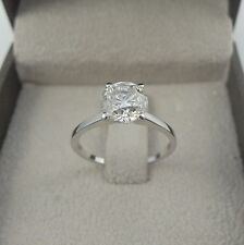 SOLITAIRE WEDDING DIAMOND RING ROUND 18K WHITE GOLD COLORLESS WOMEN VS1 D SMOOTH