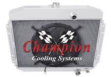 """2 Row QR Champion Radiator W/ 16"""" Fan fits 1961 62 63 1964 Ford F-Series Trucks"""