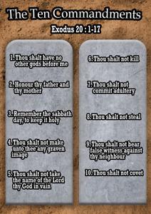 Ten Commandments Bible Wall Poster Kids Christian Learning A4 A3 200/240gsm