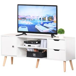 Wooden TV Stand Media Entertainment Unit Sideboard Storage Drawers Shelves White