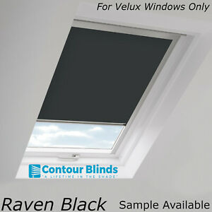 BLACK BLACKOUT FABRIC SKYLIGHT  BLINDS FOR ALL *VELUX* ROOF WINDOWS