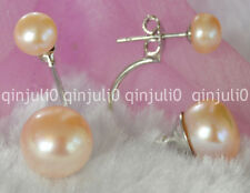 Charming double Akoya Pink Pearl Large 10-10.5mm Silver Stud Earrings je42