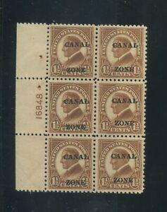 1924 Canal Zone Panama Envoi Tampon #72 Mint VF Plaque Numéro 16848 Bloc De 6