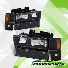 1994-1998 Chevy C/K 1500 Tahoe Silverado Black Headlights+Bumper Corner Lamps