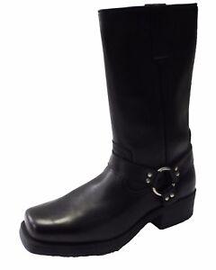 Black High Leg Biker Style Waxy Leather Boots