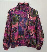 VTG Darlyn Bellagio Womens Small Full Zip Windbreaker Jacket Multicolor Abstract
