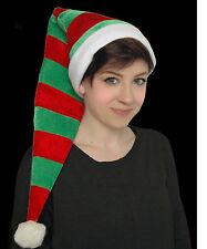 RED GREEN STRIPEY EXTRA LONG ADULT CHEERFUL CHRISTMAS FANCY DRESS HELPER ELF HAT