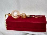 """7"""" Tall Blown Glass  Ornament 5segment gold & amber"""