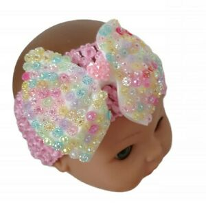 Colourful Diamante Hair Bow on a Pink Headband Child Newborn Baby UK Seller 🇬🇧