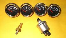 With Oil+temp Sender 52mm Electrical Oil Pressure + Temp + Volt + Fuel Gauge-BLK