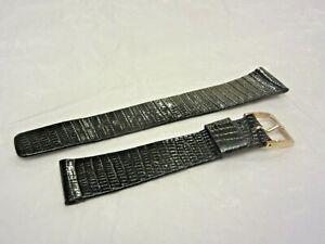 Vintage SEIKO Genuine Lizard Black Watch Band Strap 20MM Unused E