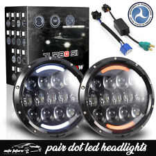Fit Ford F100 1969-1979 7 Inch LED Headlights Halo Yellow Turn Hi-Lo Sealed