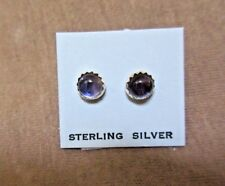 Native Navajo Amethyst & Sterling Silver Post Earrings  - JE0337