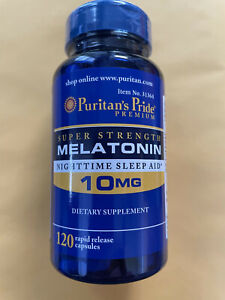 Puritan's Pride Super Strength Melatonin 10mg Rapid Release 120 Capsules 10/22