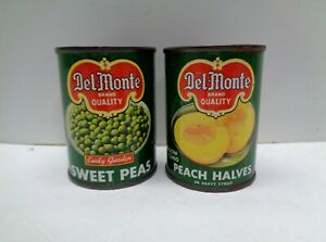 2 Vintage METAL Play Food DEL MONTE VEGETABLE CANS EMPTY