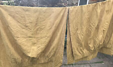 "Pair Long Vintage Gold Brocade Damask Curtain Panels W54"" D92"""