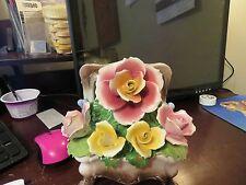 Antique Nuova Capodimonte Porcelain Italy Treasure Box Floral Bouquet Flowers