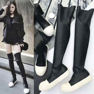 Women Thigh High Boots Over the Knee Booties Flats Fashion Sneakers Oxfords Punk