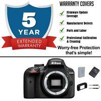 Nikon D3400 24.2 MP Digital Camera Body w/ 5yr Extended Warranty