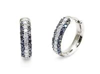 10K White Gold Black & White Diamond Hoop Earrings 15mm Round Hoops .52ct