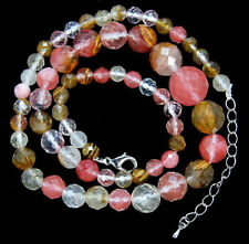 6-14mm Faceted Multi-Color Watermelon Tourmaline Round Beads Gems Necklace 18""