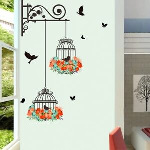 Colorful Flower Flying Bird Birdcage Wall Sticker Living Room Bedroom Wall Decal