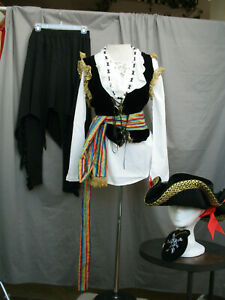 Women's Pirate Dress Buccaneer Gypsy Costume Colonial Wench Tavern Girl