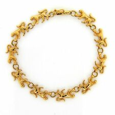 """14K Yellow Gold Roaming Panther Lioness Cat Chain Link Bracelet 7"""""""