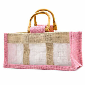 5 x Rose Pink Three Small Jar Jute Gift Bag Bags With cane Handles 22X8X10.5cm