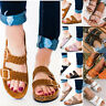 USA Women's Slide Buckle T-Strap Cork Footbed Platform Flip Flop Shoes Sandals