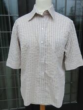 Van Laack beige and white stripped short-sleeved shirt . Size Large