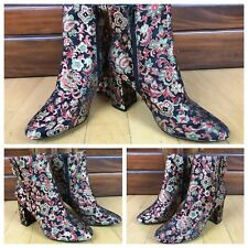 New ASOS Black Floral Fabric Zippered Block Heel Ankle Boots Women's Size 6M