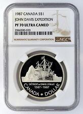 1987 Canada S$1 Silver Dollar John Davis Expedition NGC PF 70 Ultra Cameo
