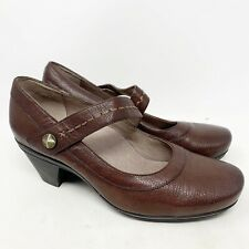 Abeo Rebeka Mary Jane Classic Brown Dress Leather Pumps Heels Womens US 9.5 N