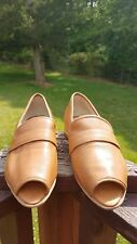 80 % 20 open toe tan leather loafers size 9 excellent condition
