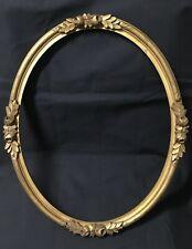 Ancien cadre ovale en bois sculpté doré décor ROSES