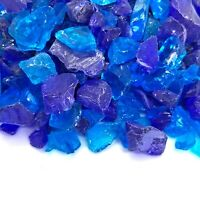 """Caribbean Blue 1/2"""" - 1"""" Premium Large Fire Glass for Fireplace and Fire Pit"""