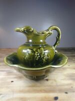 Vintage McCoy USA Pottery Pitcher And Wash Bowl Basin Set Green Grapes Ornate