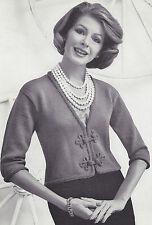 Vintage Knitting PATTERN to make Frog Trim Closure Knit Jacket Shorty FrogJacket
