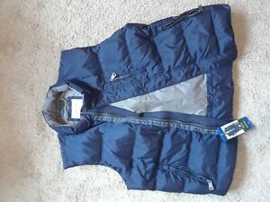 Orvis Down Vest Blue full zip and button outdoor  L Men's
