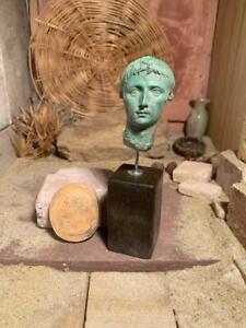 Roman statue / art -The first Emperor, Augustus - bust & relief sculpture amulet