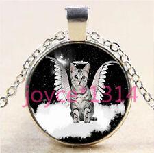 Vintage Angel Cat Cabochon Tibetan silver Glass Chain Pendant Necklace #6193
