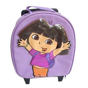 Dora The Explorer Rolling Suitcase Carry-On Bag Purple Zip Toddler Kids 2005