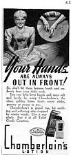 1941 Chamberlain's Lotion Print Ad Your Hands Are Always Out In Front!