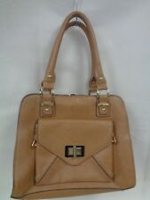 "LADIES LARGE  DUNE TAN HANDBAG - 2 HANDLES 13 X 10.5""                    (CHA)"