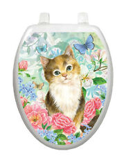 Toilet  Tattoo® Lid Decor Soft Kitten Cat   Removable Reusable Bathroom Decor
