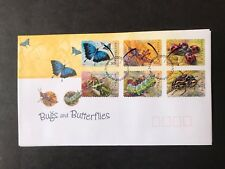 AUSTRALIA 2003 BUGS AND BUTTERFLIES PEEL AND STICK SET 6 STAMPS FIRST DAY COVER
