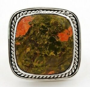 Natural Unakite 925 Solid Sterling Silver Ring Jewelry Sz 5.5, ED18-2