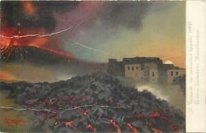 Postcard Italia Napoli ( Naples ) Sommer Vesuvio volcano erupting explosion city